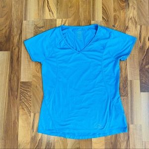 LL Bean Athletic Tee Shirt Teal Blue With Logo Med